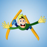 Hombre que cae en salto de esquí Fotos de archivo libres de regalías