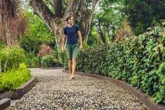 Hombre que camina en un pavimento de adoquín texturizado, Reflexology Guijarro s Imagenes de archivo