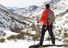 Hombre que camina en viaje del invierno Imagen de archivo