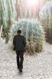Hombre que camina hacia el cactus Imagen de archivo