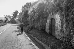 Hombre que camina más allá de un cantina en Italia Imagen de archivo libre de regalías