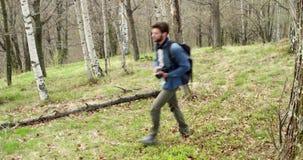 Hombre que camina a través del bosque que busca las fotos Lado de siguiente Varón adulto de la gente del backpacker milenario rea almacen de metraje de vídeo