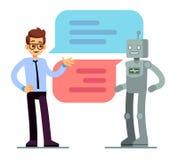 Hombre que charla y que pide bot de la ayuda Concepto del vector de Chatbot stock de ilustración