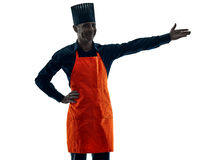 Hombre que cocina la silueta del cocinero aislada Foto de archivo
