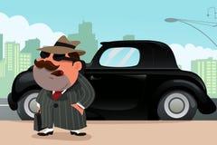 Hombre que coloca en frente su coche Fotografía de archivo libre de regalías