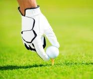 Hombre que coloca la pelota de golf en te Fotos de archivo libres de regalías