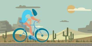 Hombre que completa un ciclo en fondo del desierto Figura formada abstracta en paisaje realista Ilustration plano colorido del ve stock de ilustración