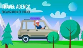 Hombre que conduce el coche en fondo del paisaje de la montaña ilustración del vector