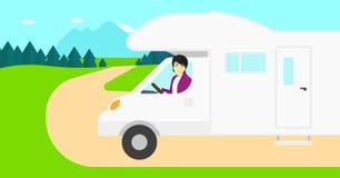 Hombre que conduce la autocaravana Fotos de archivo libres de regalías