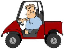 Hombre que conduce un vehículo de UTV Fotos de archivo libres de regalías
