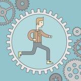 Hombre que corre dentro del engranaje Imagen de archivo