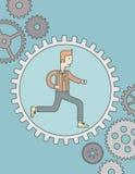Hombre que corre dentro del engranaje Fotografía de archivo