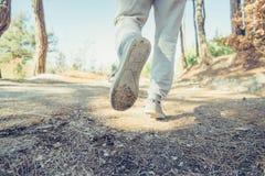 Hombre que corre en el bosque Imagen de archivo