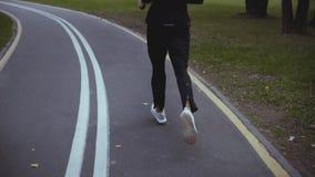 Hombre que corre en vuelta del camino del parque del otoño Visión posterior Cámara lenta Deportista que activa en el callejón res almacen de metraje de vídeo