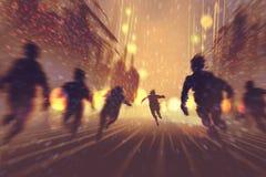 Hombre que corre lejos de zombis Foto de archivo libre de regalías