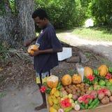 Hombre que corta un coco Fotografía de archivo libre de regalías