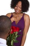 Hombre que da rosas Imagen de archivo libre de regalías