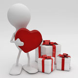 Hombre que da su corazón Imagen de archivo libre de regalías