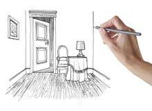 Hombre que dibuja un cuarto libre illustration