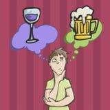 Hombre que elige entre el vino o la cerveza de consumición fotos de archivo