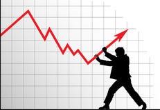 Hombre que empuja el gráfico hacia arriba stock de ilustración