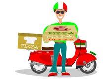 Hombre que entrega la pizza Imágenes de archivo libres de regalías