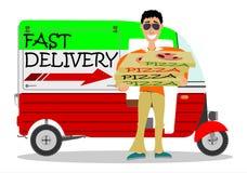 Hombre que entrega la pizza Imagen de archivo