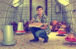 Hombre que escoge los huevos frescos en casa de pollo Imágenes de archivo libres de regalías
