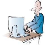 Hombre que escribe un email stock de ilustración