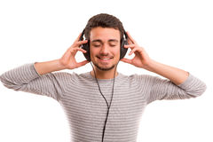 Hombre que escucha la música Imagen de archivo