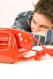 Hombre que espera una llamada Imágenes de archivo libres de regalías