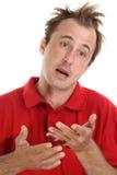 hombre que gesticula con sus dos manos Imagenes de archivo