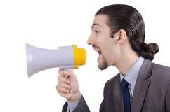 Hombre que grita con el altavoz Imágenes de archivo libres de regalías