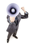 Hombre que grita con el altavoz Foto de archivo libre de regalías
