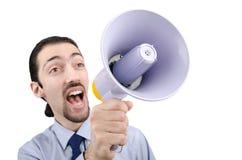 Hombre que grita con el altavoz Imagenes de archivo