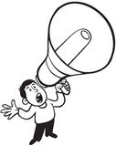 Hombre que grita con el megáfono Foto de archivo libre de regalías