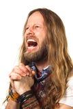 Hombre que grita en rezo desesperado Foto de archivo libre de regalías