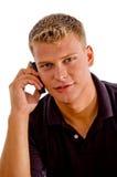 Hombre que habla en el teléfono celular foto de archivo libre de regalías