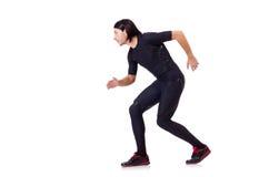 Hombre que hace los ejercicios aislados Fotografía de archivo libre de regalías
