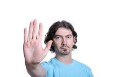 Hombre que hace un gesto de la parada fotos de archivo libres de regalías