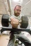 Hombre que hace un rizo de la pesa de gimnasia del brazo Imagen de archivo libre de regalías