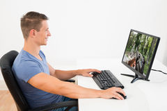 Hombre que juega al juego en el equipo de escritorio Fotos de archivo