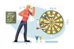 Hombre que juega concepto del campeonato del juego de los dardos stock de ilustración