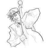 Hombre que juega el contrabajo en el fondo blanco Imagen de archivo