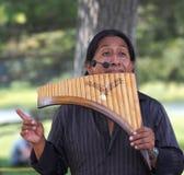Hombre que juega los Panpipes Imagen de archivo