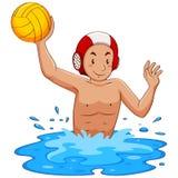 Hombre que juega water polo en la piscina ilustración del vector