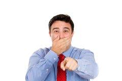 Hombre que le señala y que se ríe Foto de archivo libre de regalías