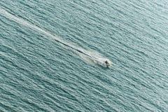 Hombre que libra el esquí del jet en el mar con salpicar el rastro del agua en la superficie del mar fotos de archivo libres de regalías