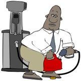 Hombre que llena encima del envase plástico de la gasolina stock de ilustración