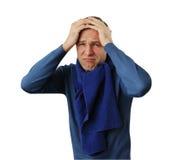 Hombre que lleva a cabo su cabeza Imagenes de archivo